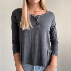 Gray Soft & Sexy American Eagle Quarter-Sleeve Top